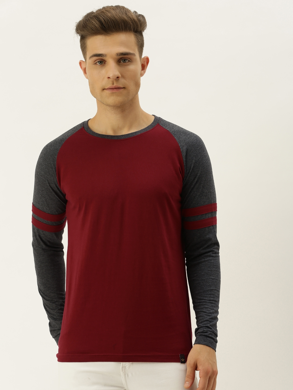 VEIRDO Men Maroon Solid Round Neck Contrast Sleeve T shirt