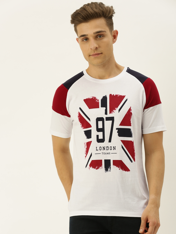 VEIRDO Men White   Red Printed Round Neck T shirt
