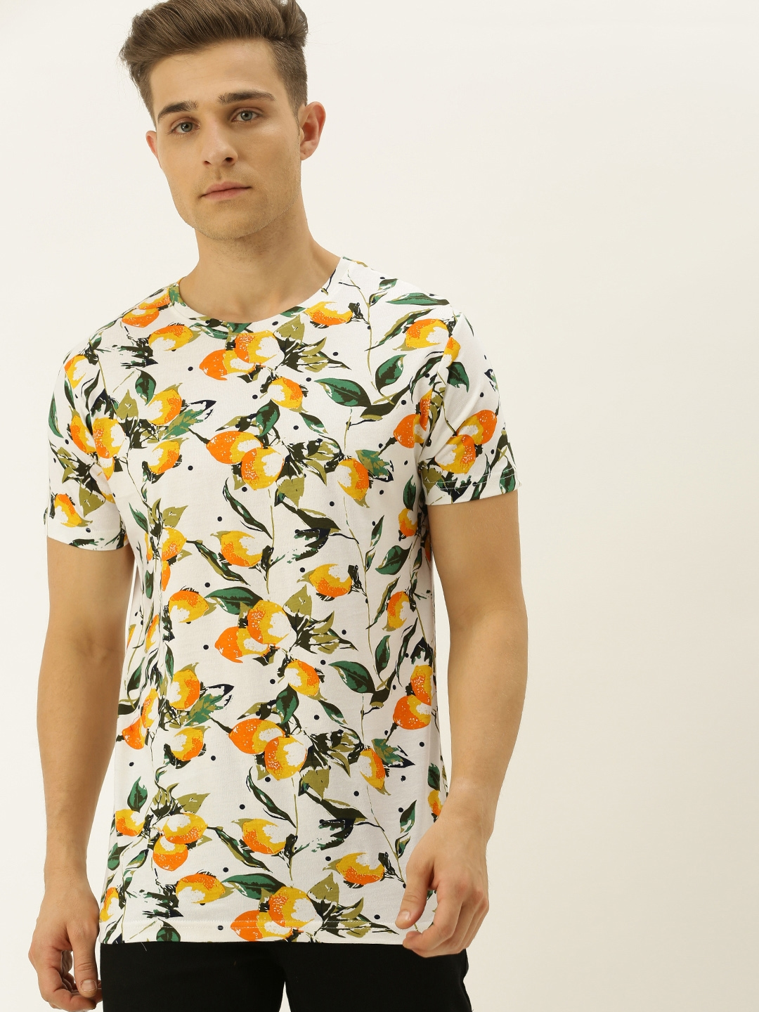 VEIRDO Men White   Orange Floral Printed Round Neck T shirt