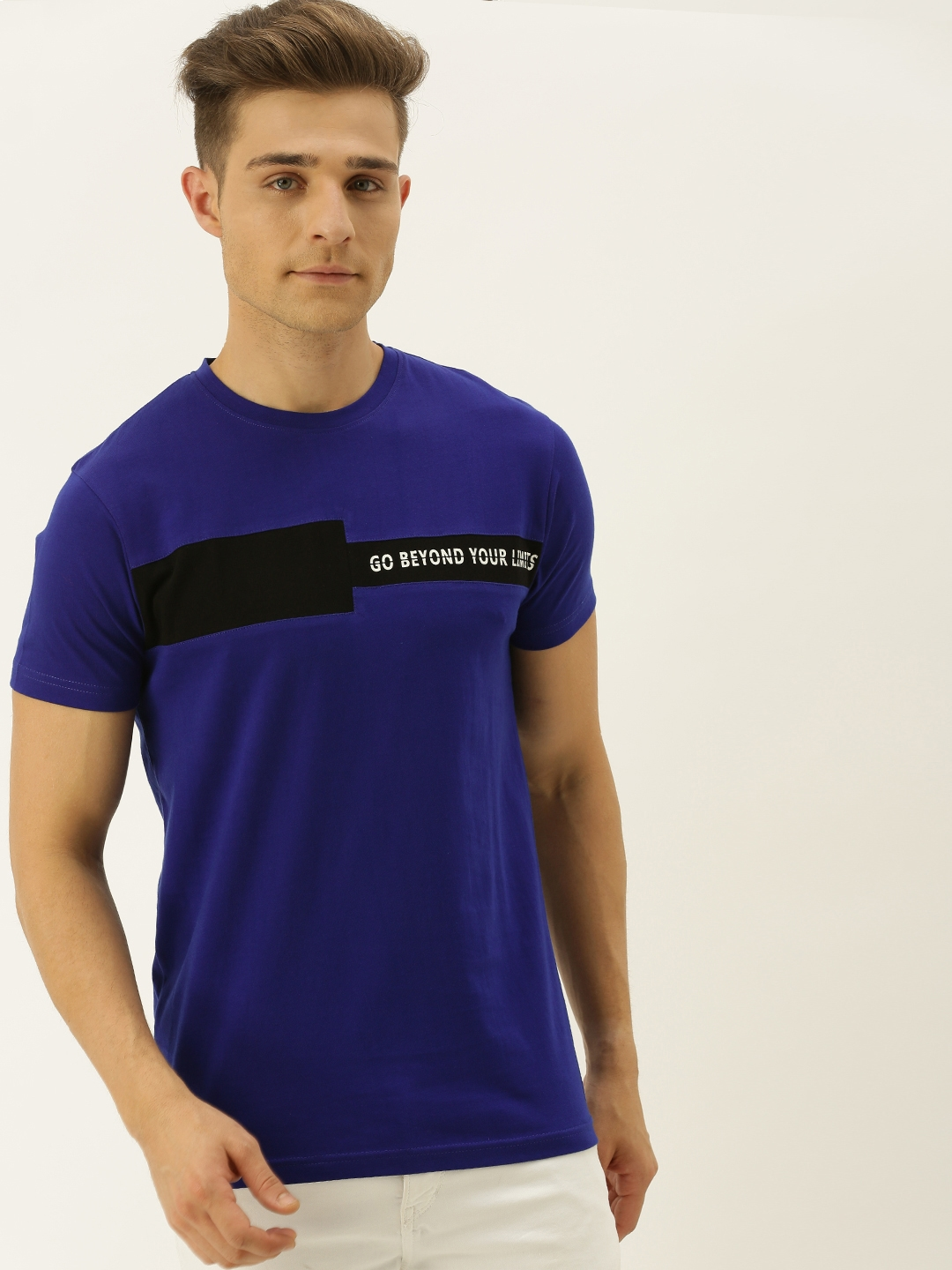 VEIRDO Men Blue   Black Printed Round Neck T shirt