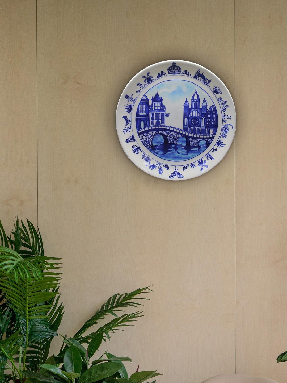 KOLOROBIA White   Blue Pottery Inspired 8 Inch Bone China Decorative Wall Plate