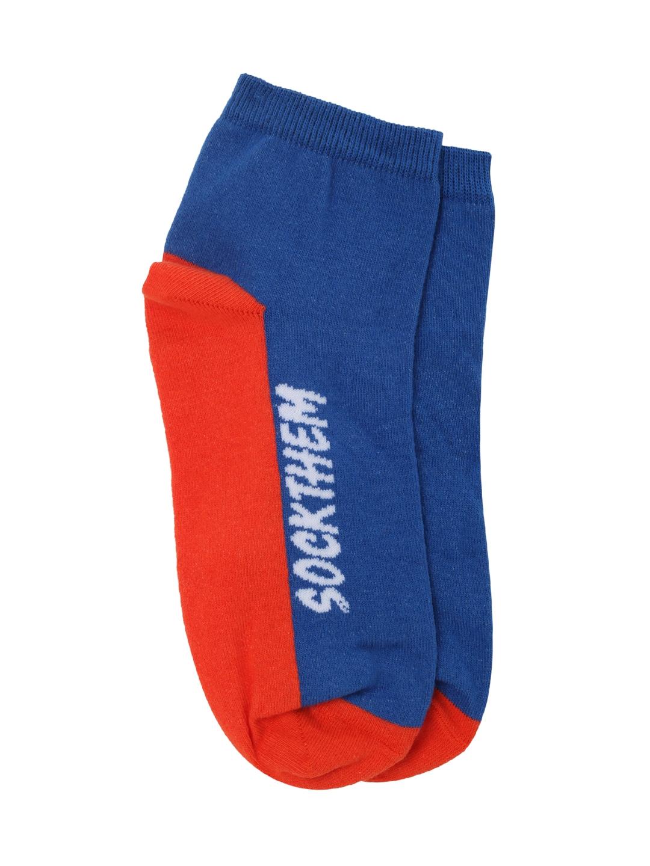Puma Unisex Pack Of 2 Blue   Orange Ankle Length Socks