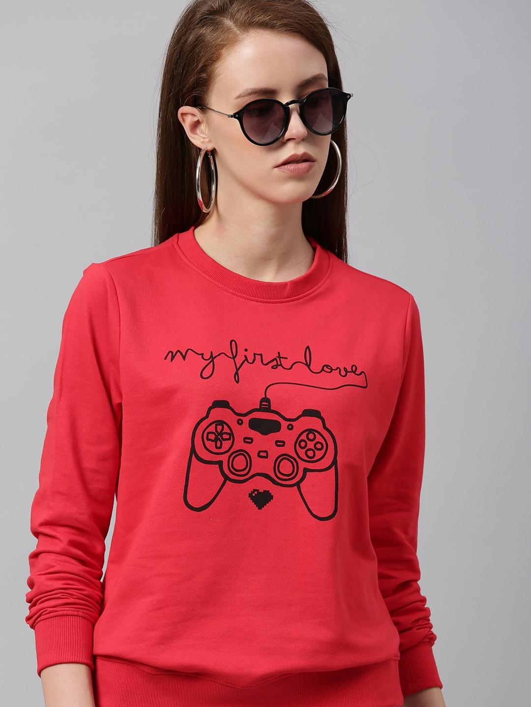 Kook N Keech Women Red Printed Sweatshirt