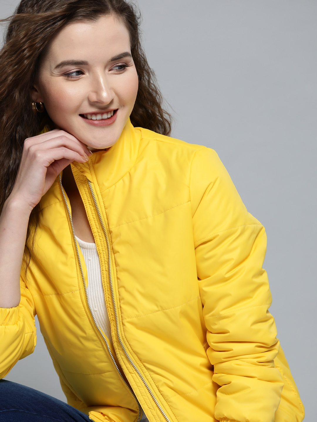 Mast   Harbour Women Yellow Solid Padded Jacket