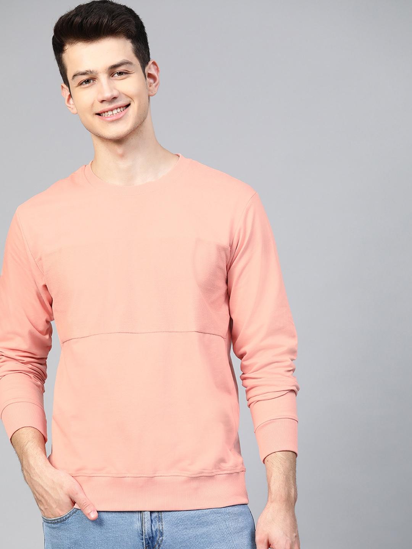Mast   Harbour Men Peach Coloured Solid Sweatshirt