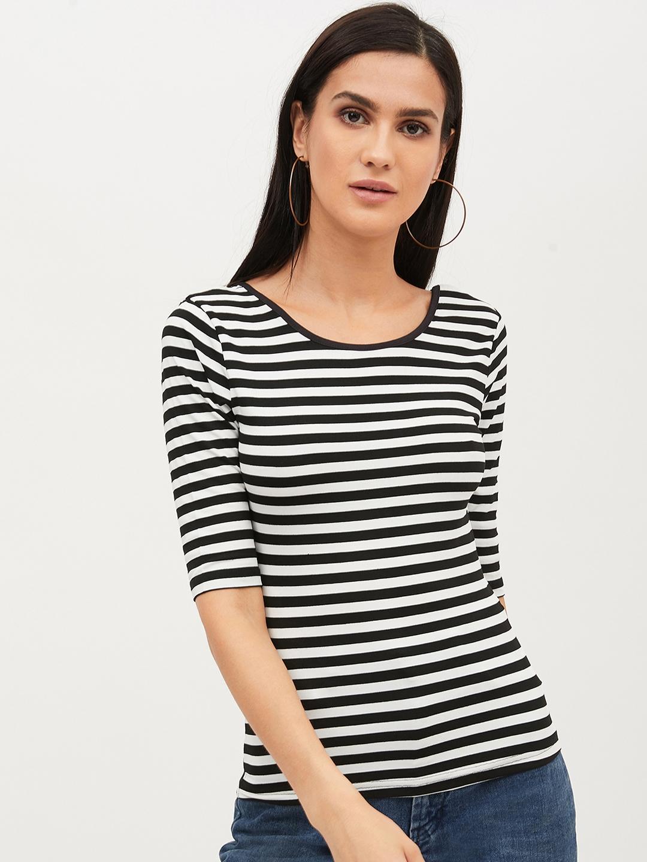 Harpa Women Black   White Striped Top