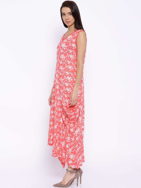 8809bef0eb6f Buy BIBA Coral Pink Floral Print Maxi Dress - Dresses for Women ...