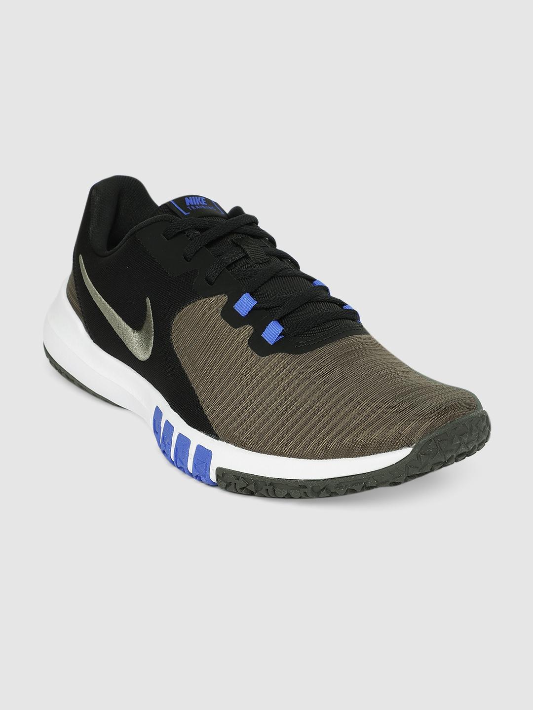 Nike Men Olive Green   Black FLEX CONTROL TR4 Training or Gym Shoes