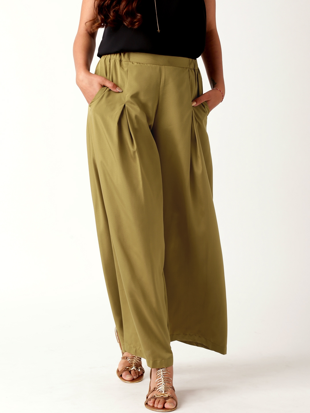 Buy All About You From Deepika Padukone Olive Green Palazzo Trousers