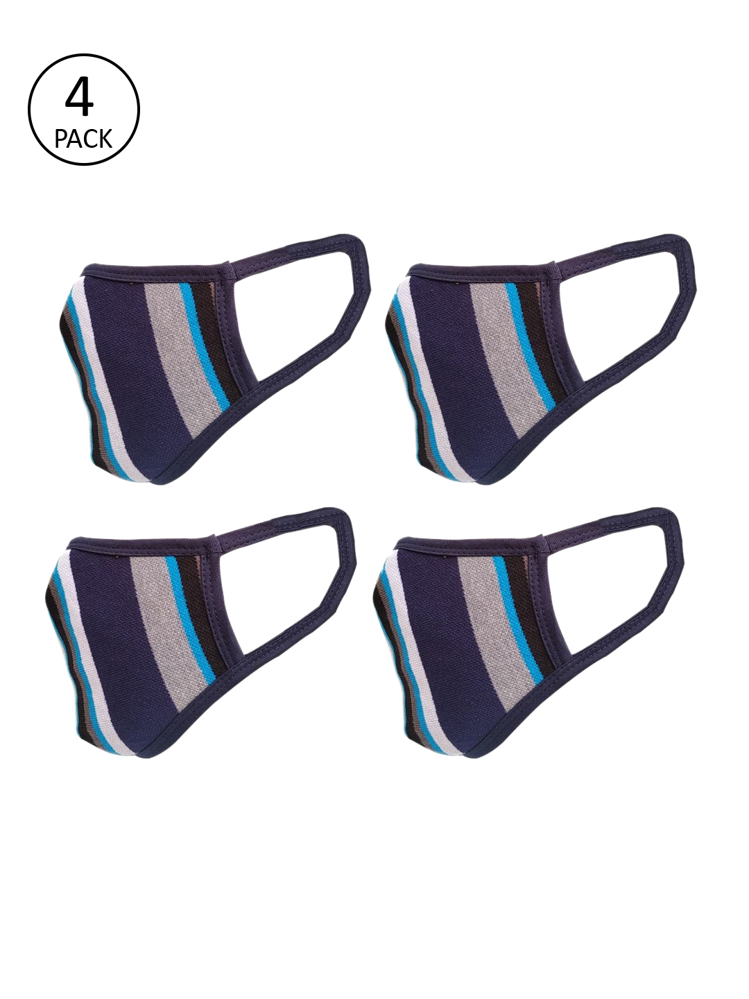 nestroots Unisex Multicolor Pack of 4 Reusable 2 Ply Protective Outdoor Masks