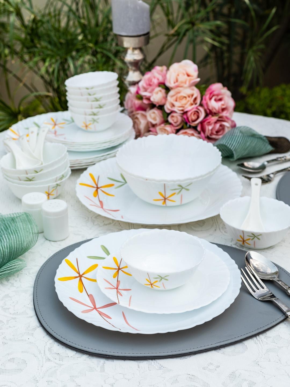 Laopala White   Yellow Printed Autumn Flower Opalware 20 Piece Dinner Set