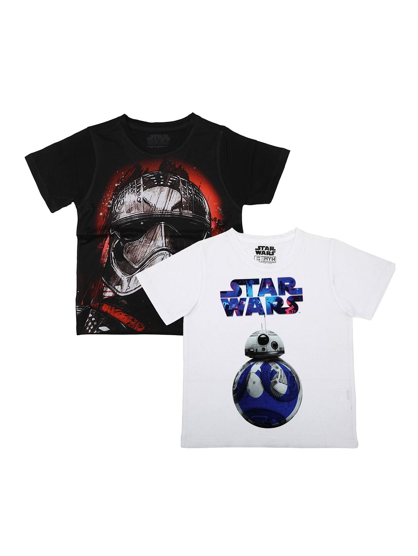 YK Star Wars Boys Pack of 2 Star Wars Printed Round Neck T shirt
