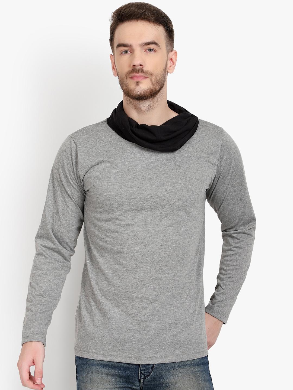 PAUSE SPORT Men Grey   Black Colourblocked Turtle Neck T shirt