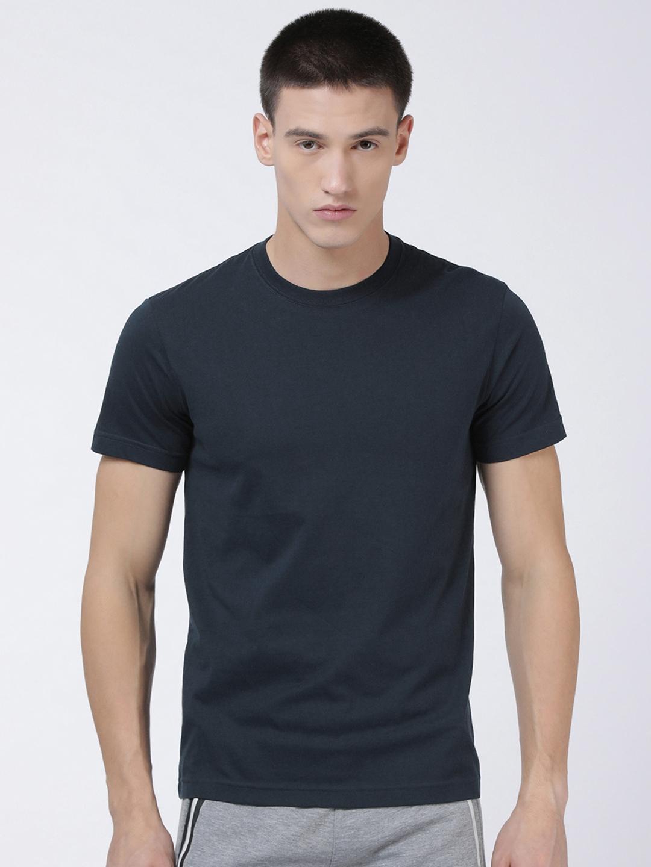 Levis Men Navy Blue Solid Round Neck Lounge T shirts