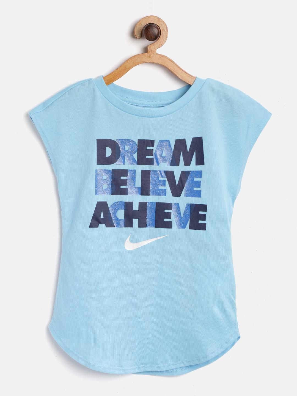 Nike Girls Blue Dream Believe Achieve Printed Shimmer T shirt
