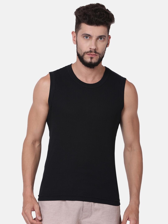 Levis Men Black Self Striped Pure Cotton Antimicrobial Innerwear Vests #014 VEST