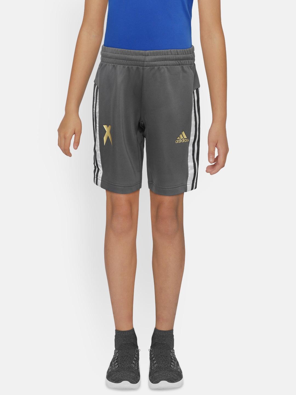 ADIDAS Boys Charcoal Grey Football Inspired X Aeroready Training Shorts