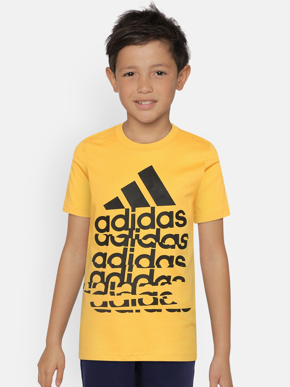 ADIDAS Boys Yellow   Black Brand Logo Print T shirt