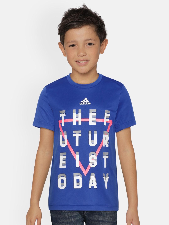 ADIDAS Boys Blue   White XFG Aeroready Printed Training T shirt