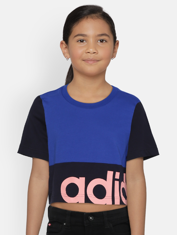 ADIDAS Girls Blue Linear Colourblocked Cropped T shirt