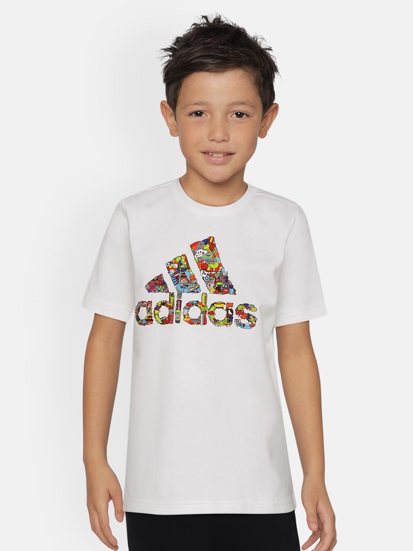 ADIDAS Boys White Printed Art T shirt