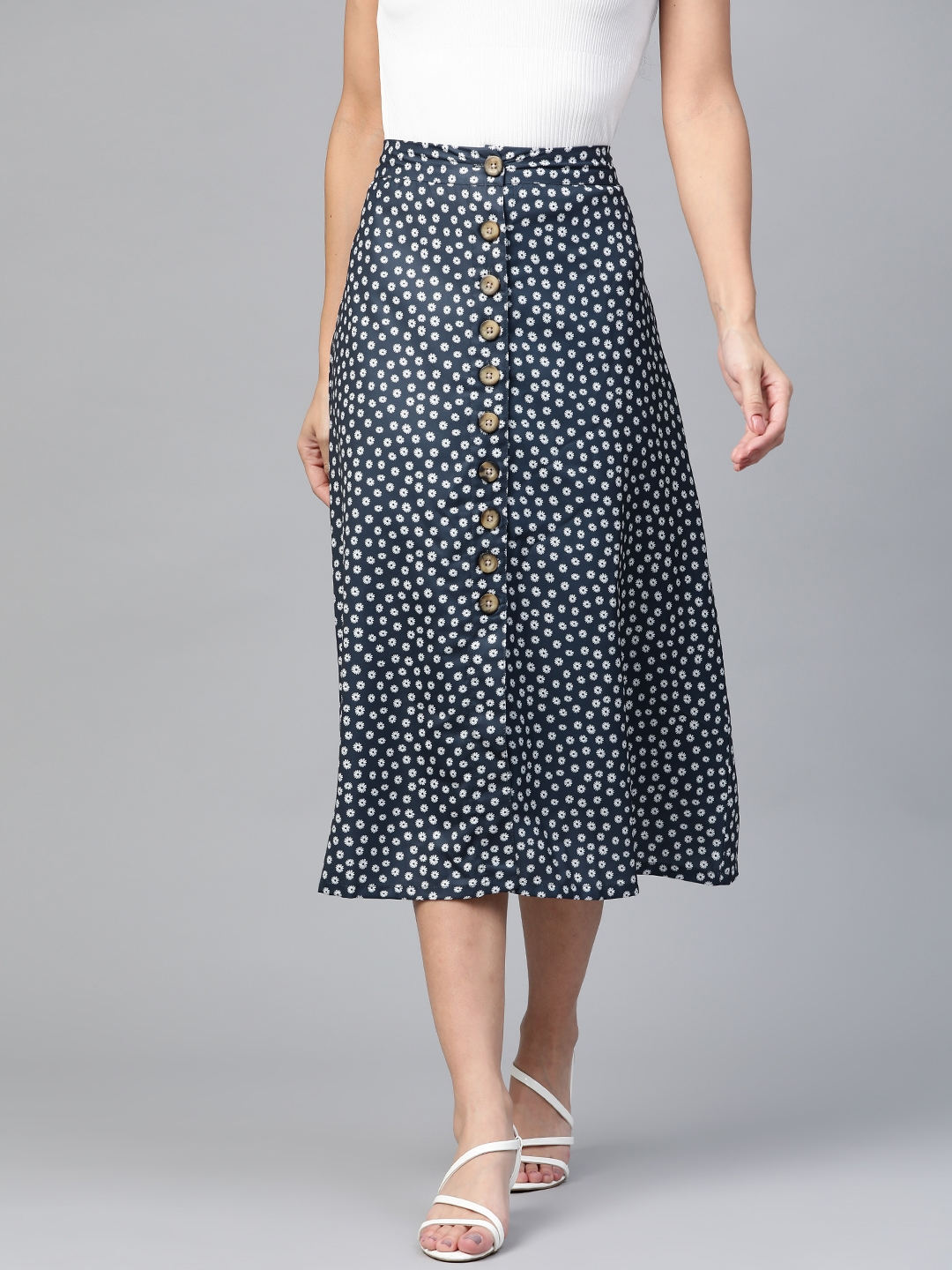 HERE NOW Women Navy   White Floral Print A Line Skirt