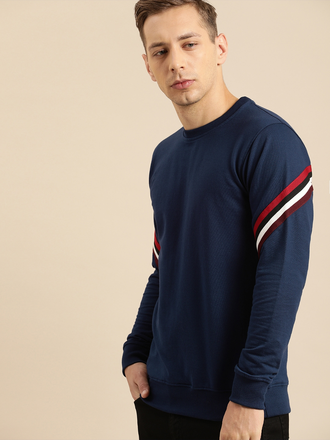 ether Men Navy Blue Solid Sweatshirt with Striped Sleeve