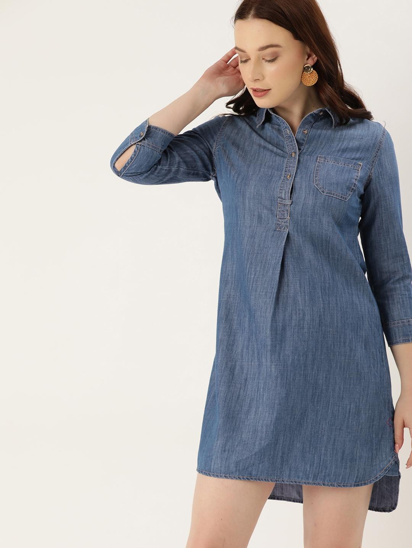 Lee Cooper Women Blue Solid High Low Denim Shirt Dress
