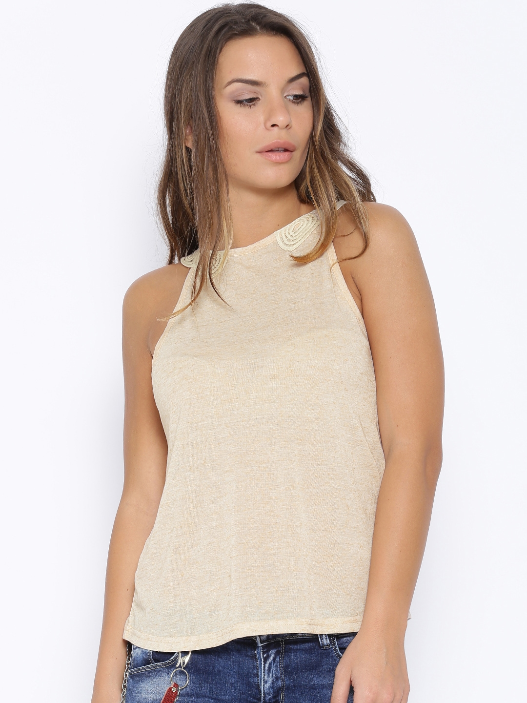 173daf49ecb Buy Deal Jeans Beige Sleeveless Top - Tops for Women 1207370