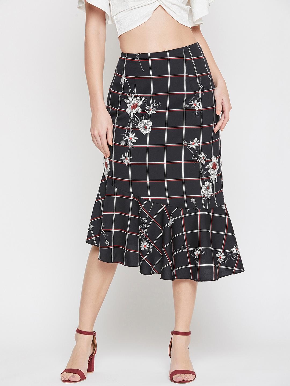 RARE Women Black   White Floral Printed A line Skirt