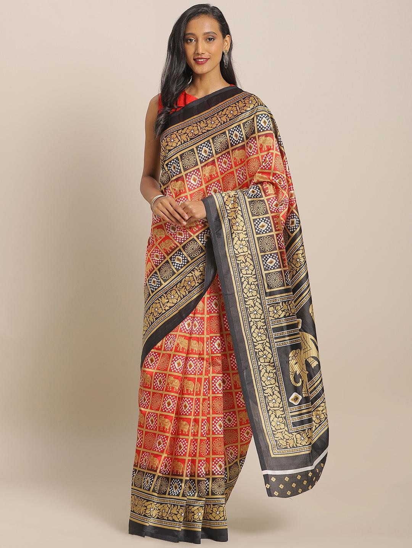 KALINI Red   Beige Art Silk Bandhani Printed Saree