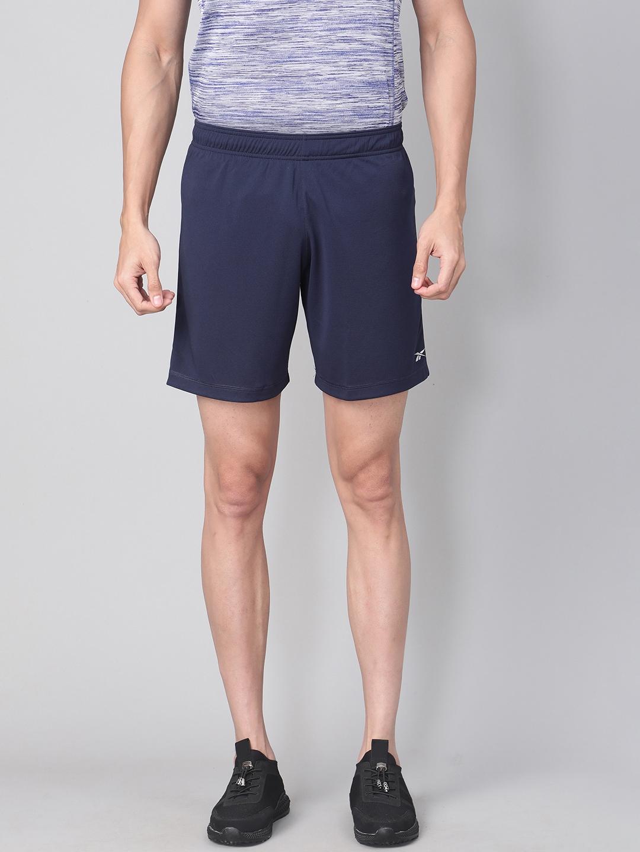 Reebok Men Navy Solid Running Essentials Basic 7 Inch Shorts