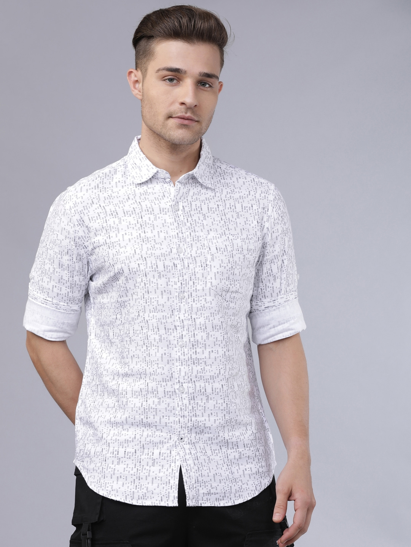 HIGHLANDER Men White   Grey Slim Fit Printed Casual Shirt
