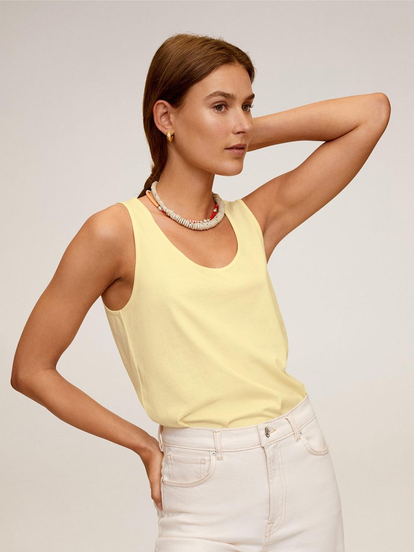 MANGO Women Cream Coloured Solid Sleeveless Top