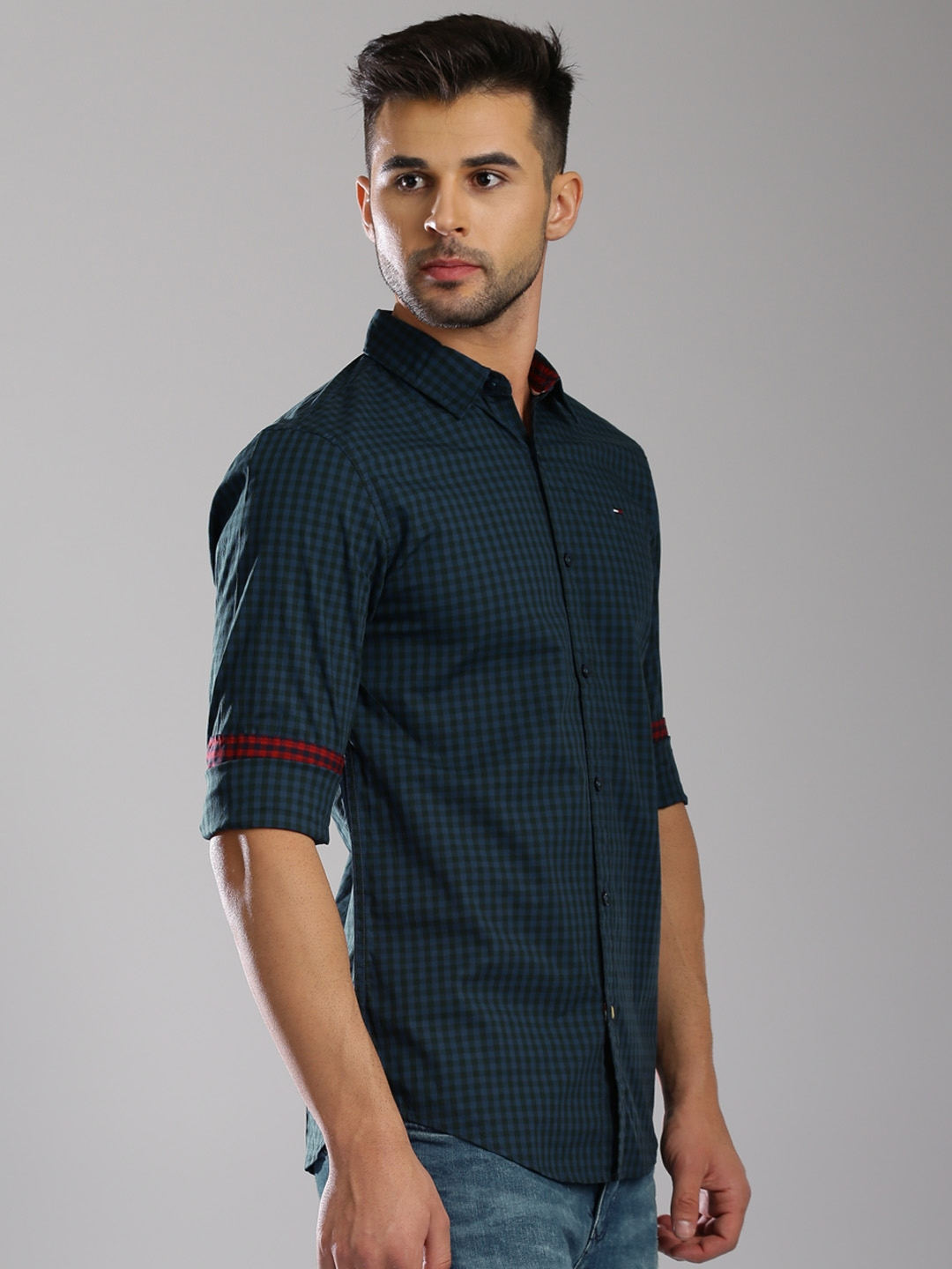 d3f02669 Buy Tommy Hilfiger Blue & Green Checked Slim Casual Shirt - Shirts ...