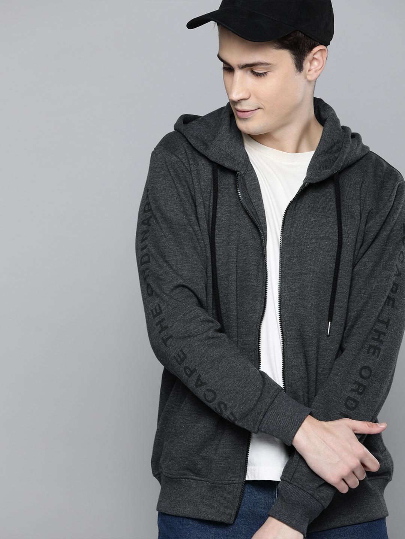 Harvard Men Charcoal Grey Solid Hooded Sweatshirt with Printed Sleeve