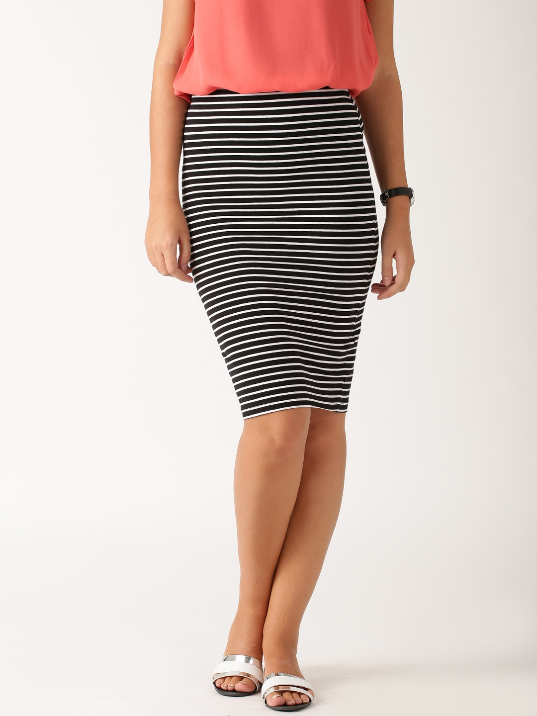 f641f4a814 Buy ETHER Black & White Striped Pencil Skirt - Skirts for Women ...