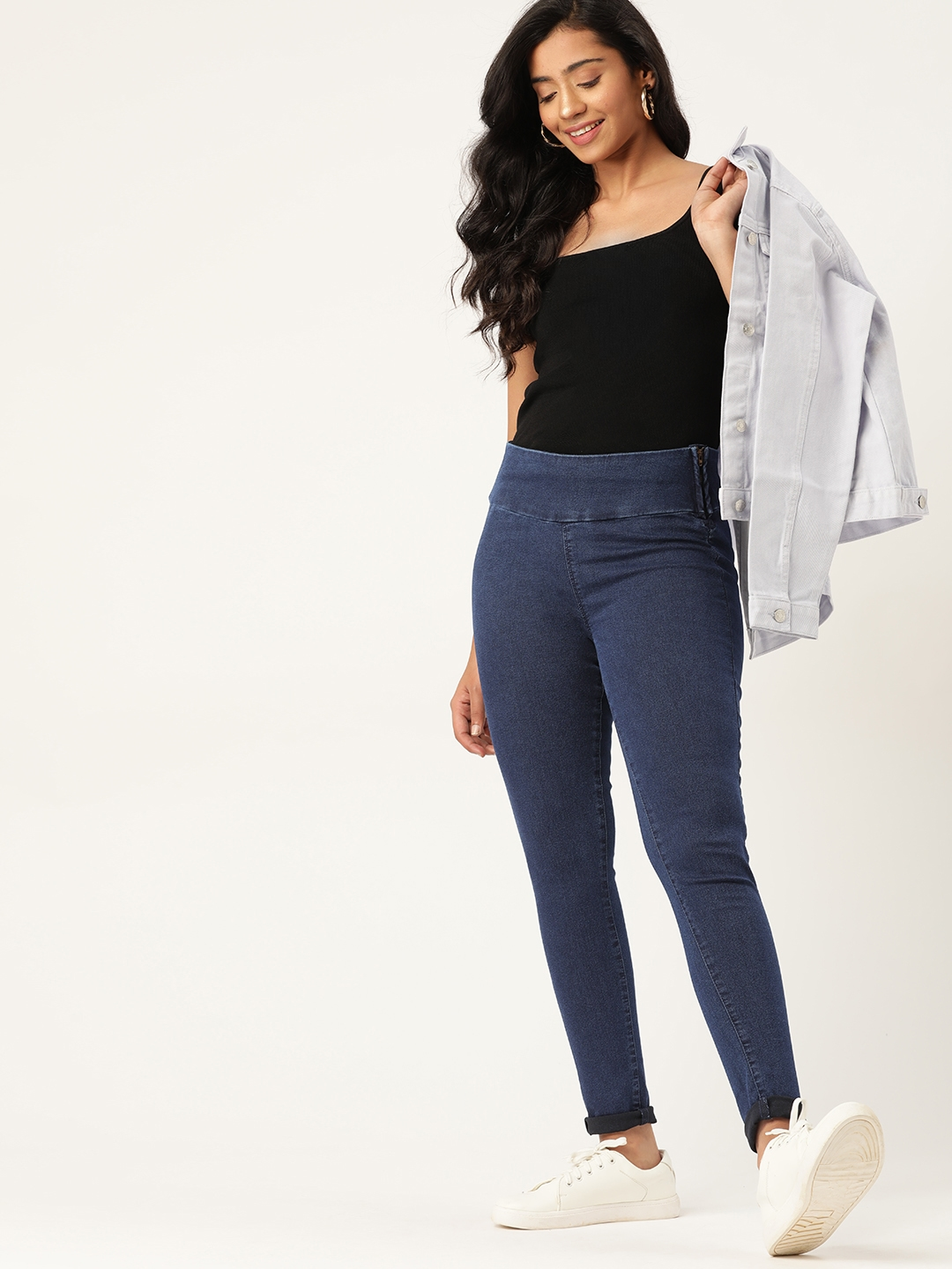DressBerry Woman Blue Solid Super Skinny Fit Stretchable Jeggings