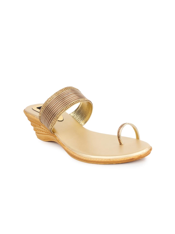 Shoetopia Women Gold Toned Wedges