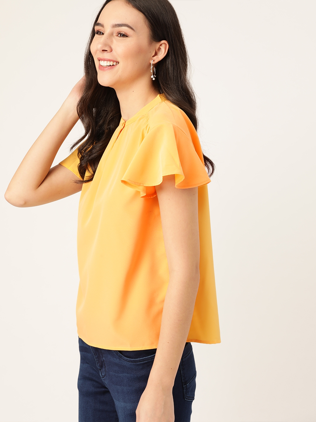DressBerry Women Yellow Solid Flutter Sleeves Top