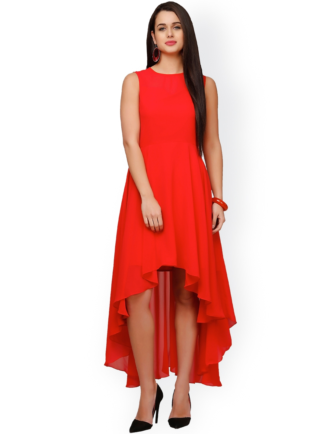Eavan Red High Low Fit   Flare Dress