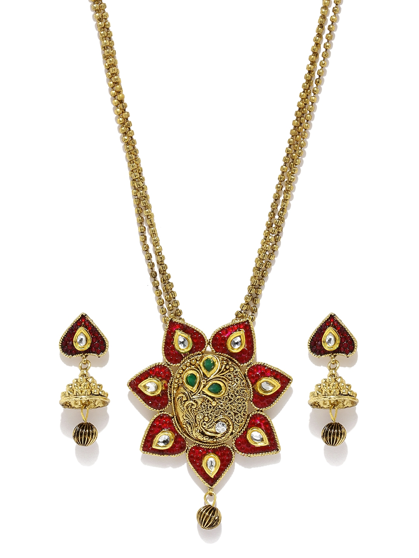 Buy Zaveri Pearls Gold Toned Modern Style Jewellery Set ...