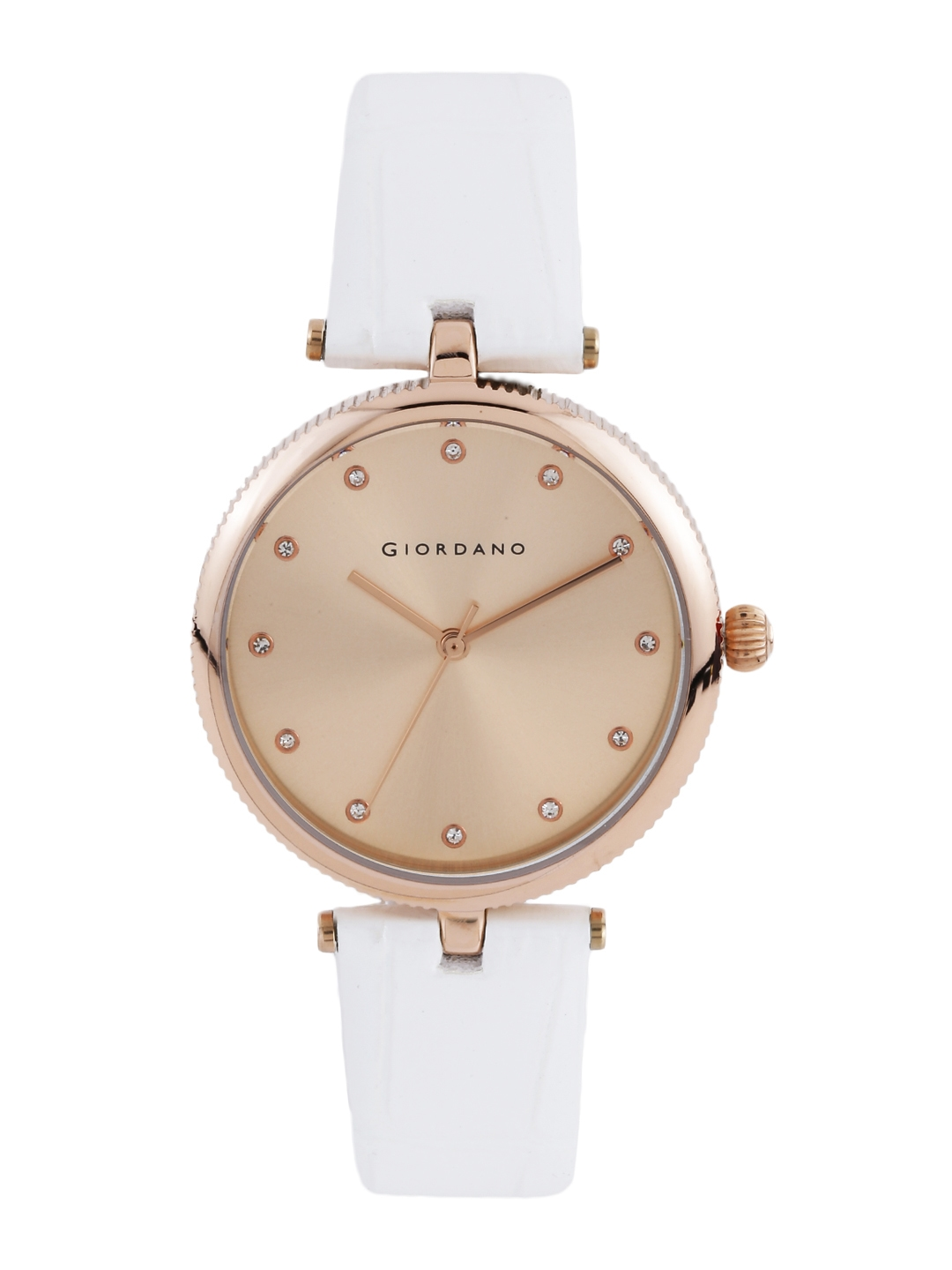 GIORDANO Women Rose Gold Toned Stone Studded Dial Watch A2038 08