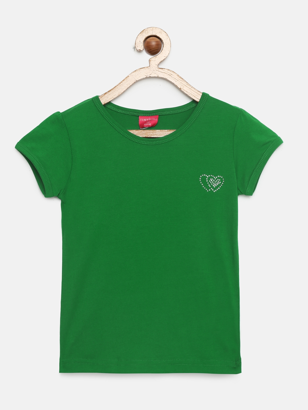 Tiny Girl Girls Green Solid Round Neck T shirt