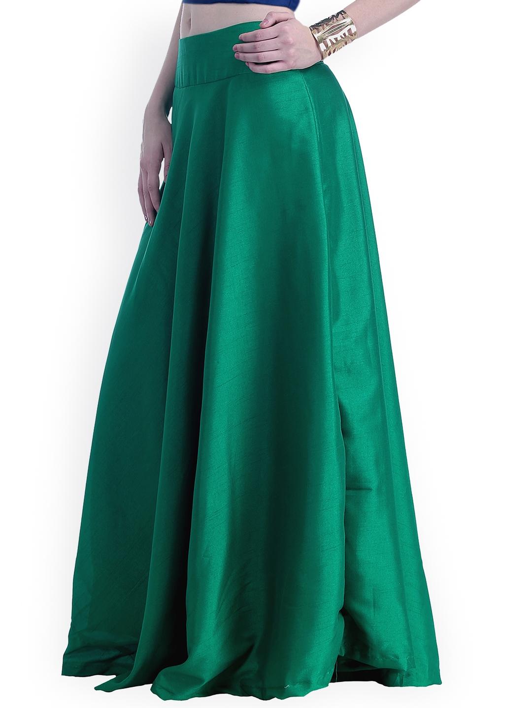 ee595adfe7c Buy INDYA Dark Green Silk Maxi Skirt - Skirts for Women 1227337