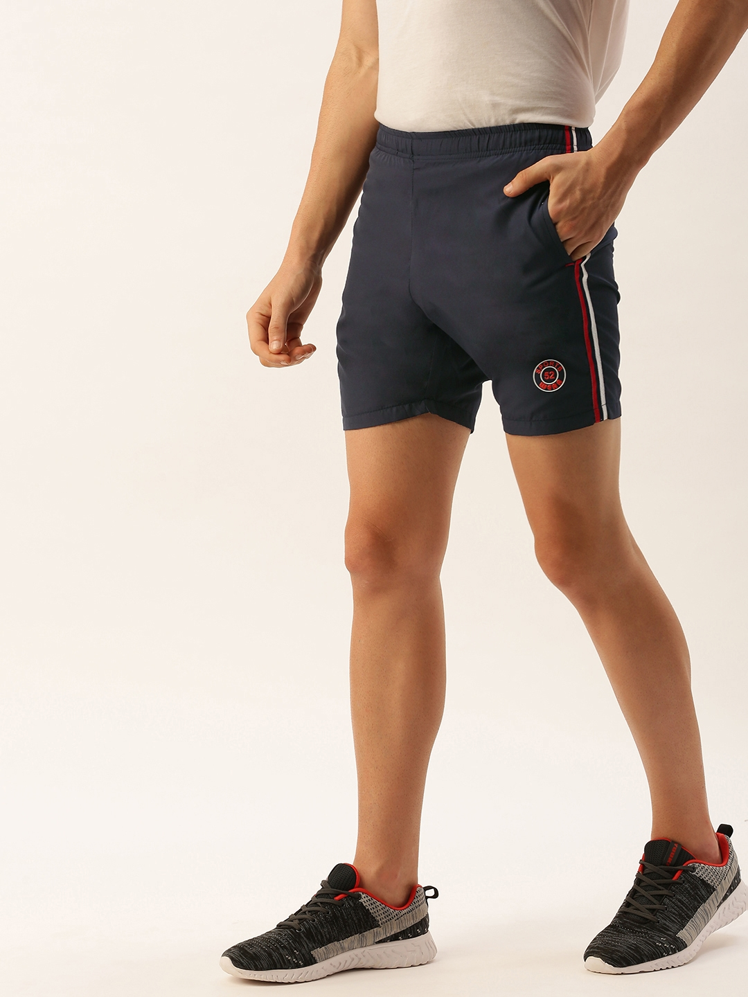 Sports52 wear Men Navy Blue Solid Regular Fit Sports Shorts