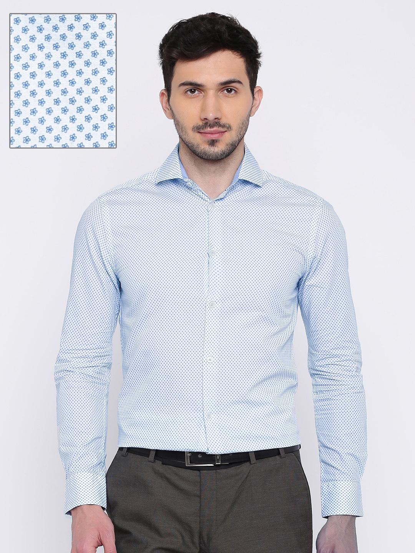 Jack   Jones White   Blue Floral Print Slim Fit Casual Shirt