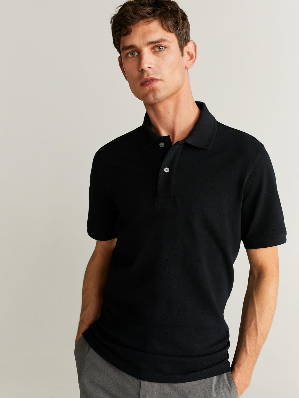 MANGO MAN Black Solid Polo Collar T shirt