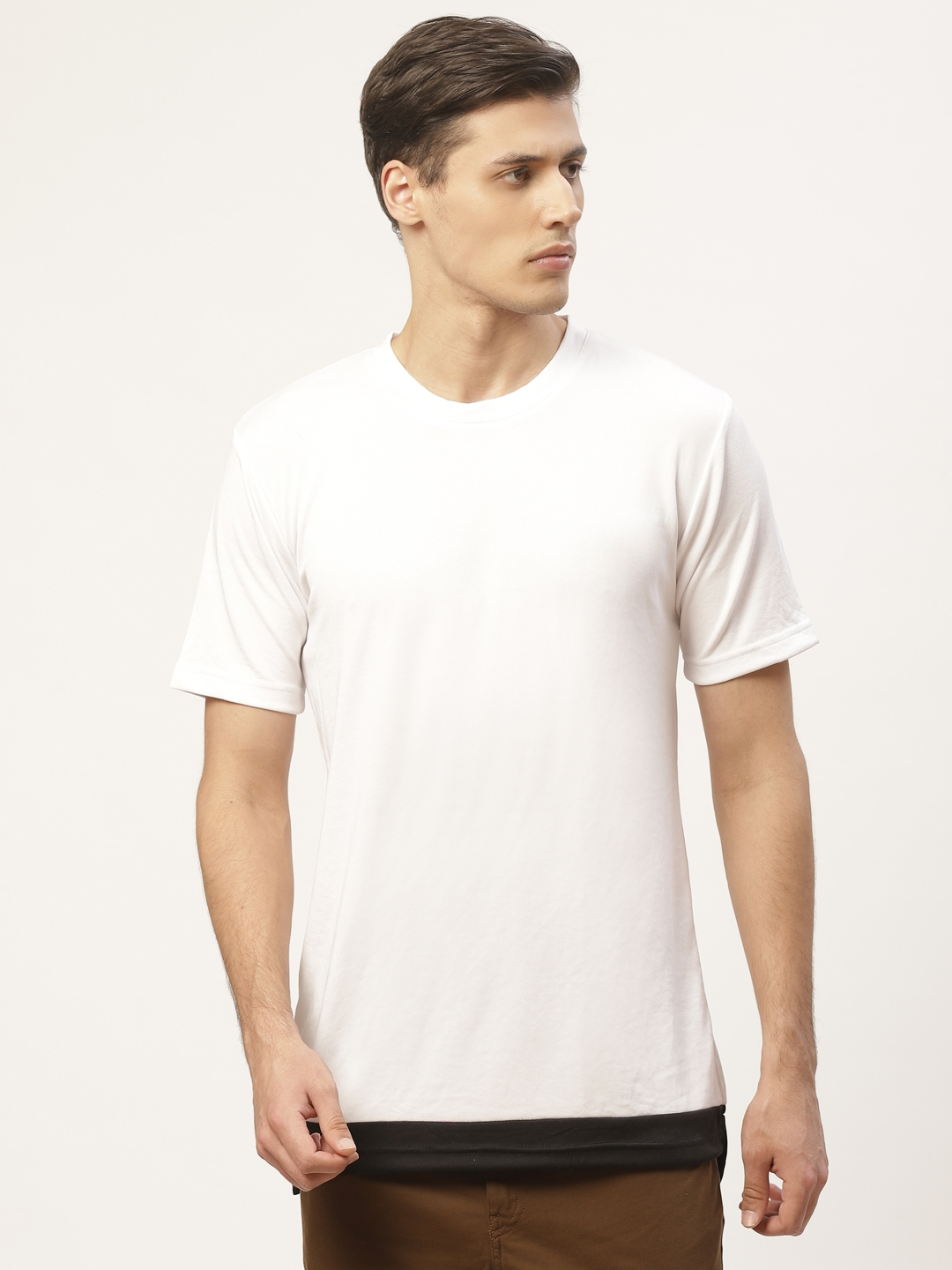 PAUSE SPORT Men White Solid Round Neck T shirt