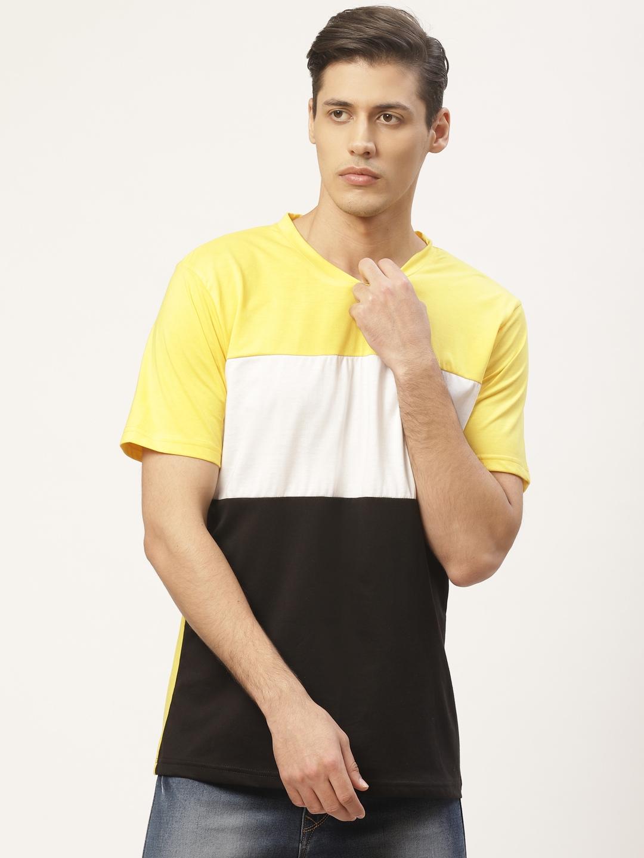 PAUSE SPORT Men Yellow   Black Colourblocked Round Neck T shirt